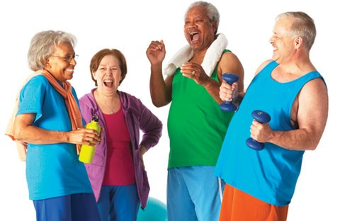 Group of Seniors In Workout Clothes